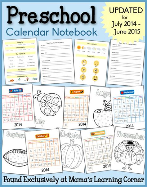 printable calendar preschool preschool calendar notebook 2014 2015 weather days of