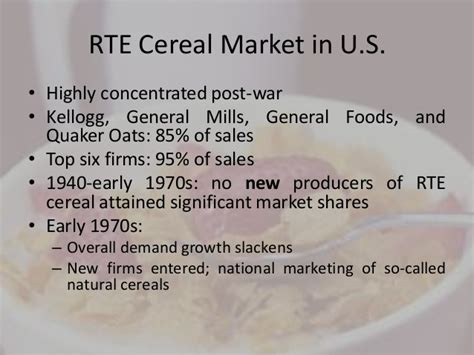 General Mills Mba by Presentation Entry Deterrence In The Rte Breakfast Cereal