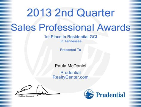 paula mcdaniel 1st place top sales in tn for