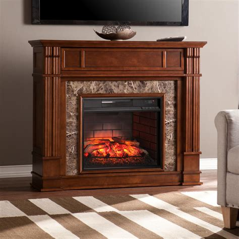Infrared Electric Fireplace Southern Enterprises Rochester 48 In W Faux Infrared Electric Media Fireplace In Whiskey