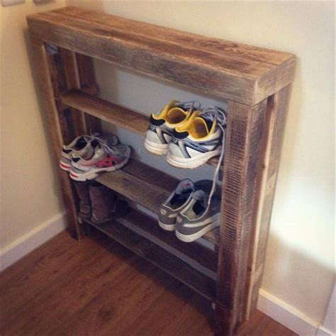 diy wood shoe rack diy reclaimed pallet wood shoe rack pallet furniture diy