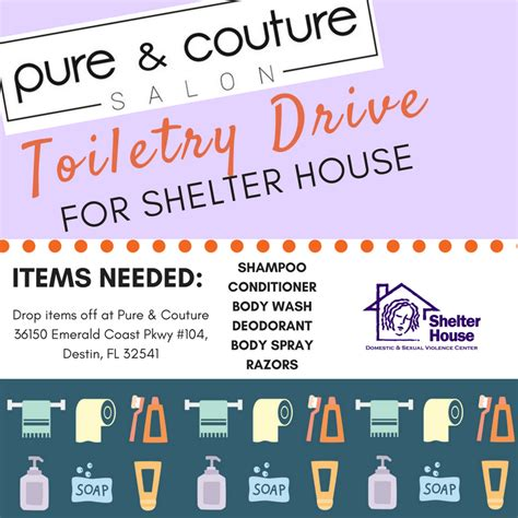 Pure Couture Salon In Destin Hosts Toiletry Drive For Shelter House Fort Walton