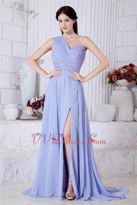lavender color dress one shoulder beading a line lavender chiffon prom dress