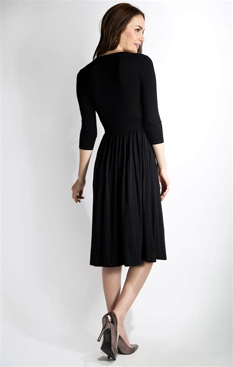Dress Black 3 at midnight modest dress in black with 3 4 sleeves