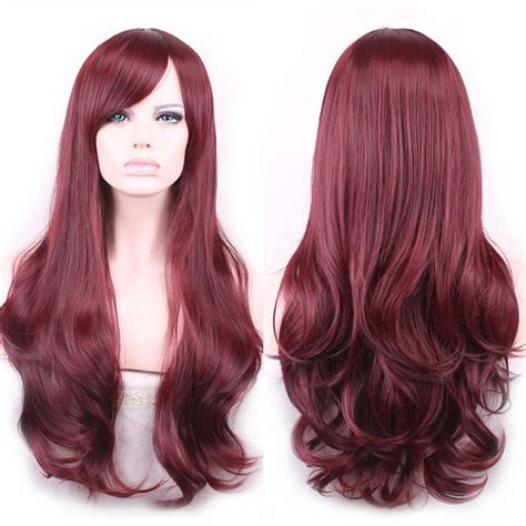 Wig Manreally Ys176 towheaded wavy heat resistant fiber glam side capless vogue claret s wig in wine