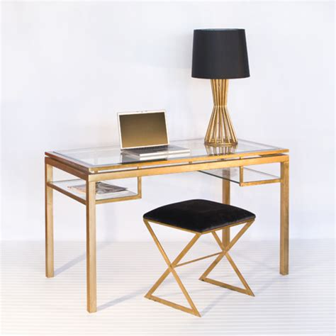 gold and glass desk brentwood beveled glass desk