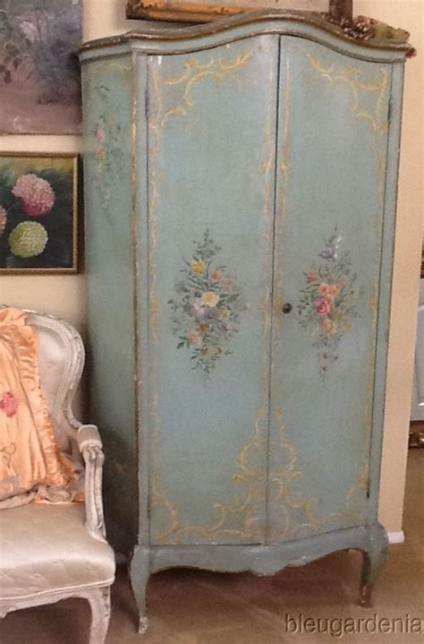 antique venetian hp italian 1920 s armoire aqua roses hand painted armoires and painted