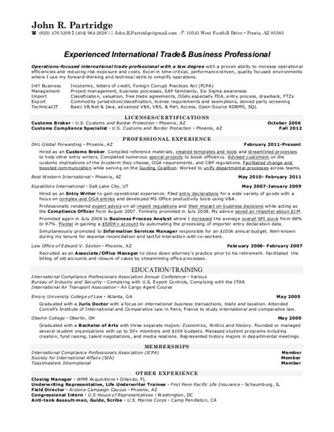 International Trade Specialist Sle Resume by R Partridge S Resume