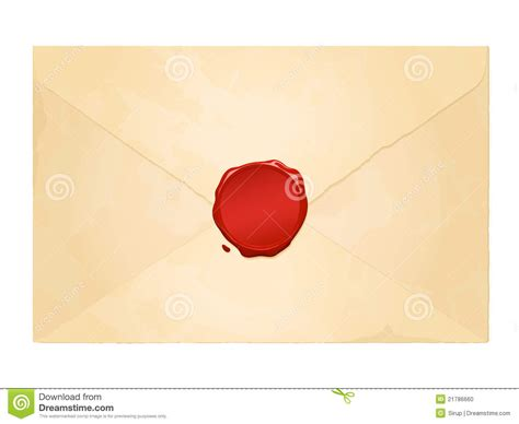 blank printable envelope seals aged vintage envelope with blank wax seal stock photo
