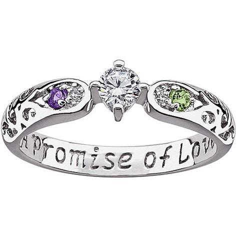 genuine birthstone and accent cz promise ring