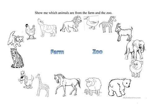 printable zoo animal worksheets farm and zoo animals worksheet free esl printable