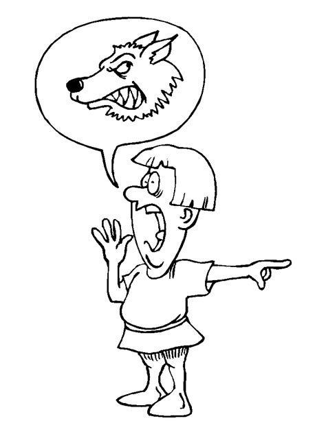 Picture The Boy Who Cried Wolf Coloring Pages 93 On The Boy Who Cried Wolf Coloring Pages