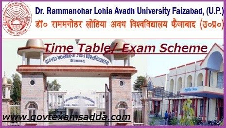 rmlau avadh university time table  ba bsc bcom schedule