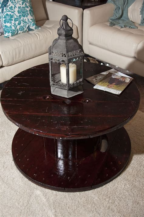 more on the wooden spool coffee table cable spool