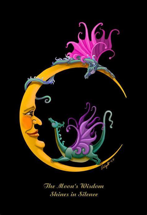 dragon moon tattoo moon dragons crescent moon whimsy baby giclee