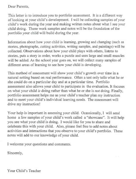 Parent Letter Explaining Classroom Portfolio Assessment Letter Lovetoteach Org Free Printable Worksheets
