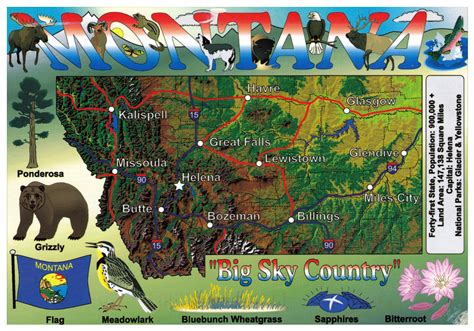 montana on map of usa large tourist map of montana state montana state usa
