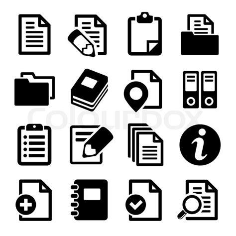 dokumente und ordner icons set vektorgrafik colourbox