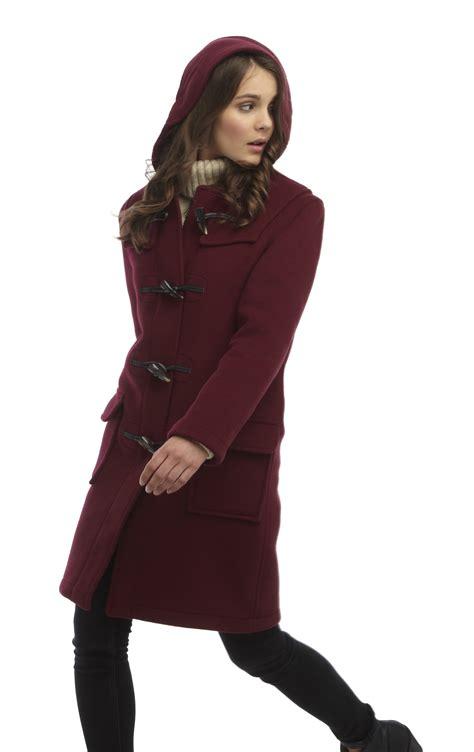 women s womens classic duffle coats burgundy