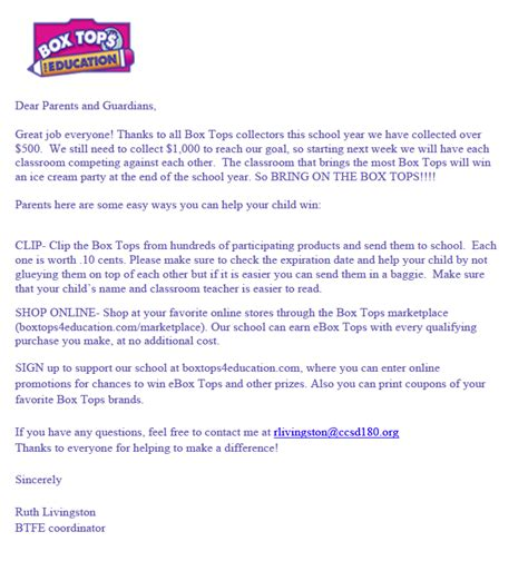 Parent Letter Box Tops community consolidated school district 180 box tops for education collection update