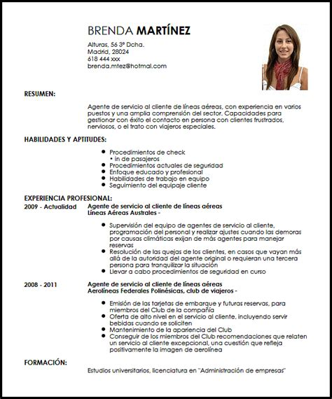Modelo Curriculum Auditor Interno Modelo Cv Agente De Servicio Al Cliente En Aerol 237 Neas Livecareer