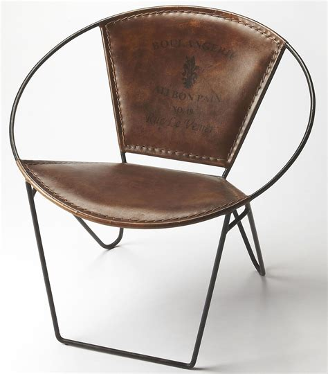 Iron Leather milo iron leather accent chair from butler coleman