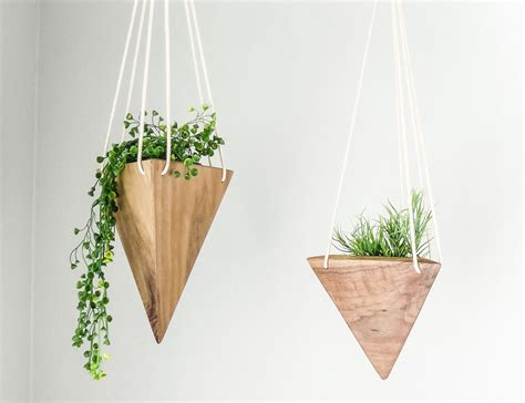 geometric hanging planter fernweh geometric hanging wood planter 187 gadget flow