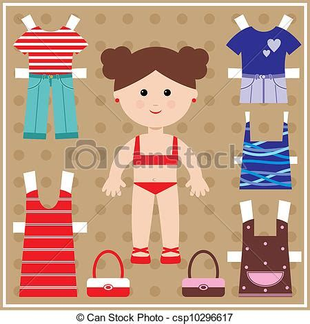 paper doll with clothes set royalty free vector