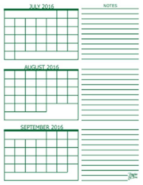 3 Calendar Months 3 Month Calendar 2016