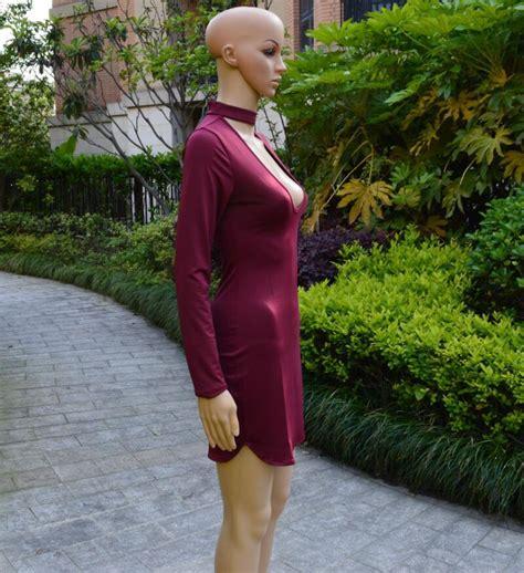 Mini Dress Gaun Import Black Tight Neck Size S 294210 new mini skirt v neck bodycon tight