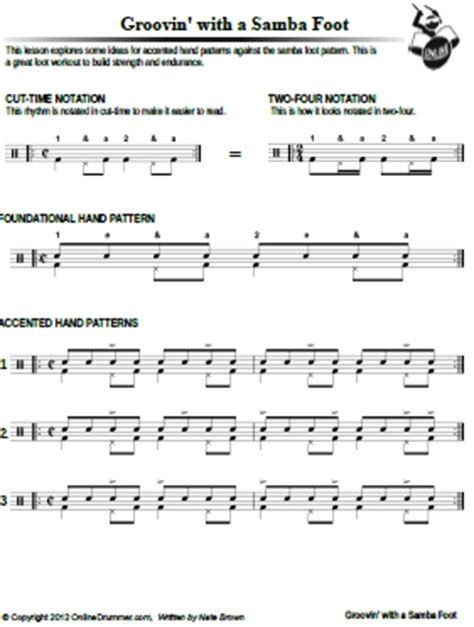 samba drum pattern notation groovin with the samba foot sheet music onlinedrummer com