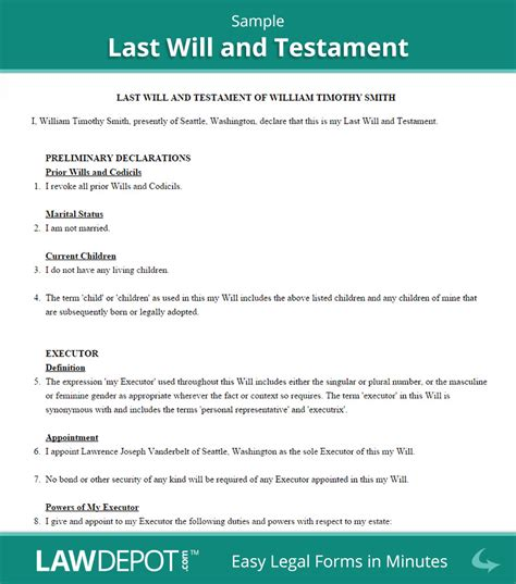 standard will template last will and testament sle