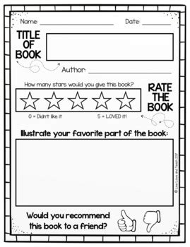 kindergarten book review template book review template free by live and teach tpt