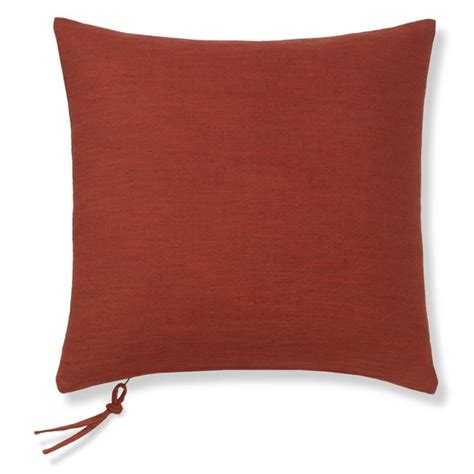 cotton linen pillow cover with zipper pull coral
