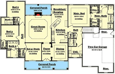 Open Office Floor Plan Layout by Elegant 4 Bedroom House Plan With Options 11712hz