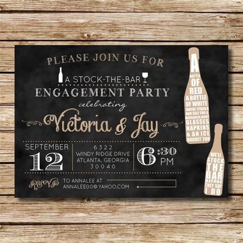 stock the bar engagement shower invitation for a