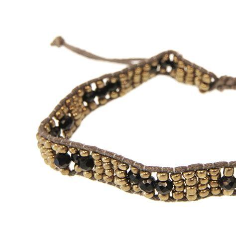 brown bead bracelet brown jet gold bead adjustable bracelet accessories