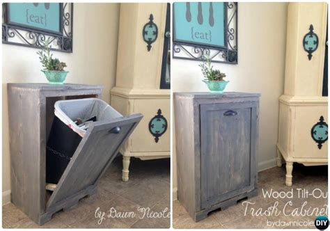 wooden trash can cabinet diy garbage can storage best storage design 2017