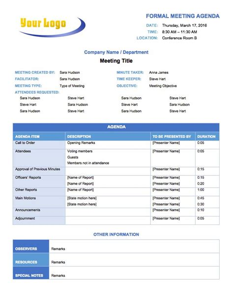 meeting agenda templates  microsoft word smartsheet