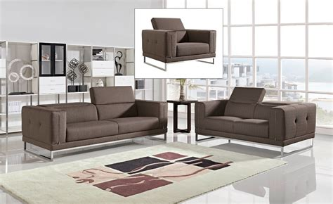 Modern Fabric Sofa Sets Divani Casa Halite Modern Brown Fabric Sofa Set
