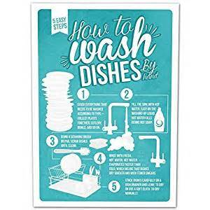 Amazon Bedding How To Wash Dishes Infographic Poster A4 Print Amazon