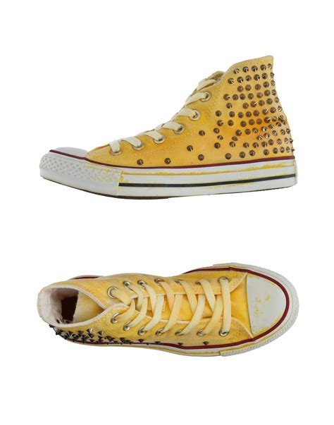 light yellow converse shoes converse high tops trainers in yellow light yellow lyst