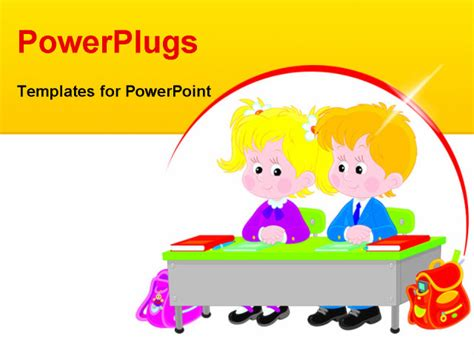 elementary powerpoint templates vector illustration of elementary school students sitting