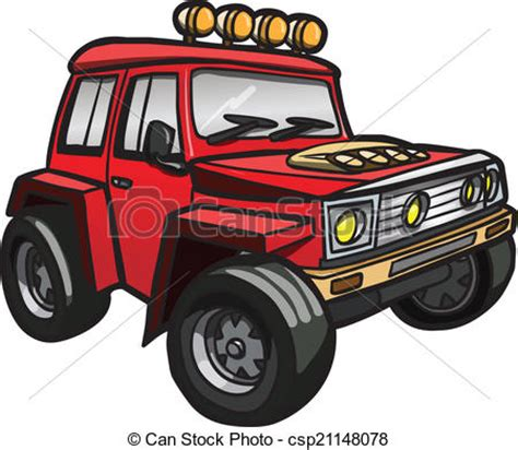 red jeep clipart vectors illustration of cartoon red jeep isolated
