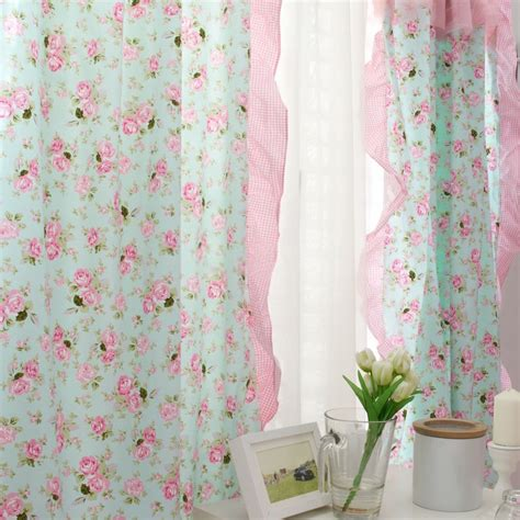 rose drapes beautiful green and pink rose lace curtain for girls