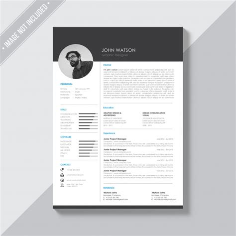 template resume freepik black and white cv template psd file free