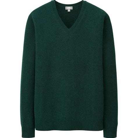 Sweater Uniqlo uniqlo lambswool blend v neck sweater in green for green lyst