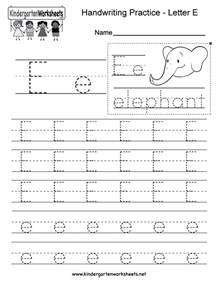 free printable letter e writing practice worksheet for