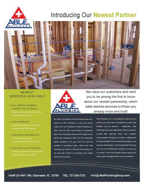 Able To Plumbing Able Builders Inc Welcomes Able Plumbing Inc Able