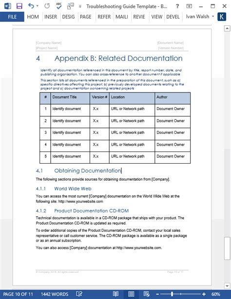 technical document template troubleshooting guide template technical writing tips